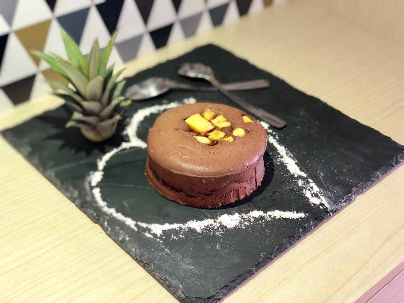 Fondant chocolat cœur ananas